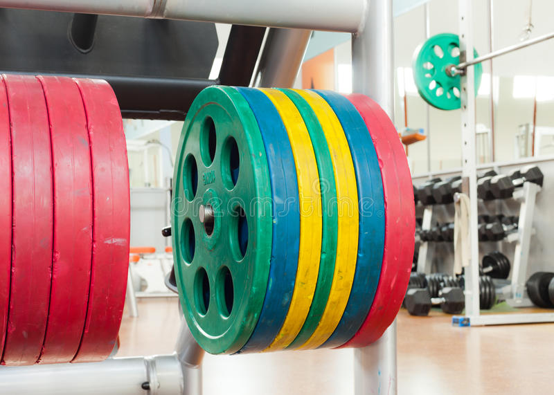 Barbell plates stock image