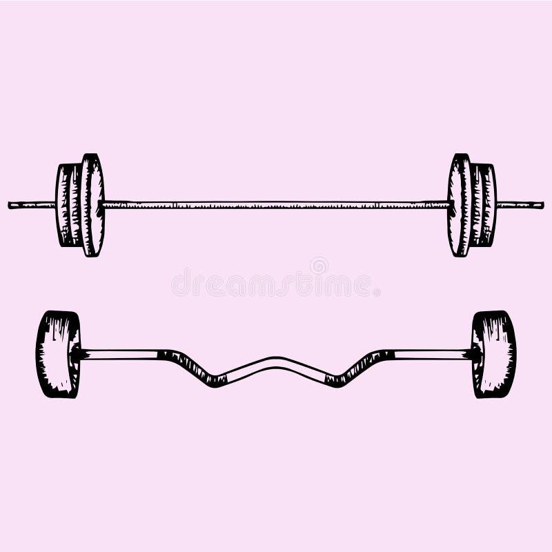Barbell, Powerlifting, Gewichtheben oder bodybuildend lizenzfreie abbildung