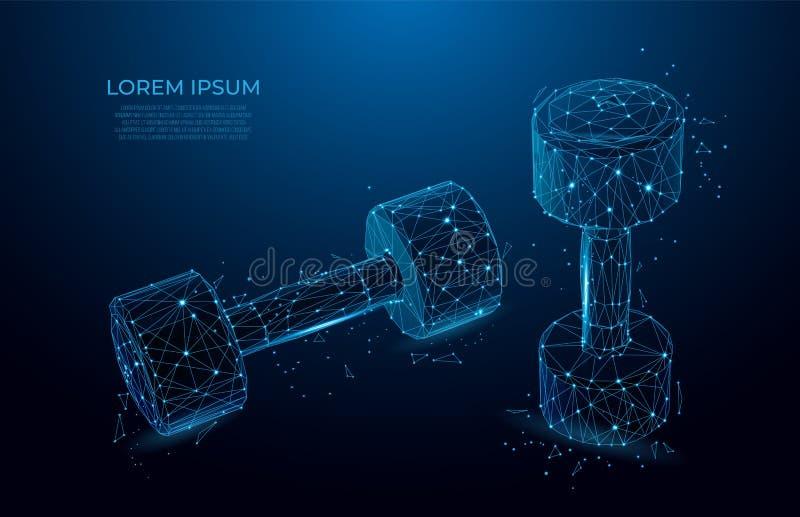 barbell Sport, Eignungsturnhallenkonzept Entwurf für Sportverein, Training und Bodybuilding Polygonvektor wireframe Konzept Masch vektor abbildung