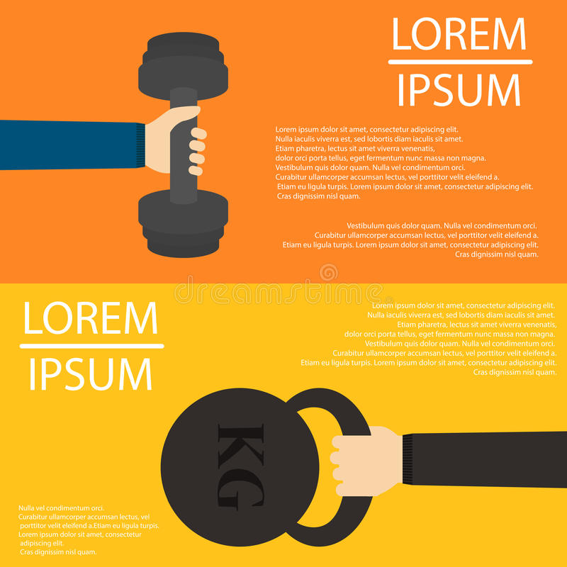 Barbell and weight in hands flat design on backfround vector illustration