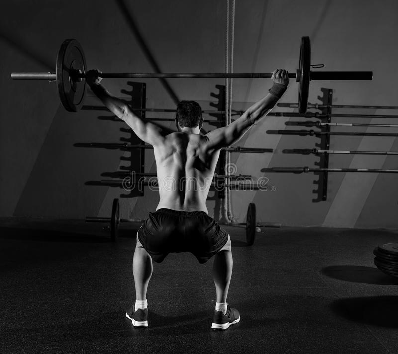 Gym Muscle Bodybuilding Black Mesh Fitness Power Lifting: Barbell Weight Lifting Man Rear View Workout Gym Stock