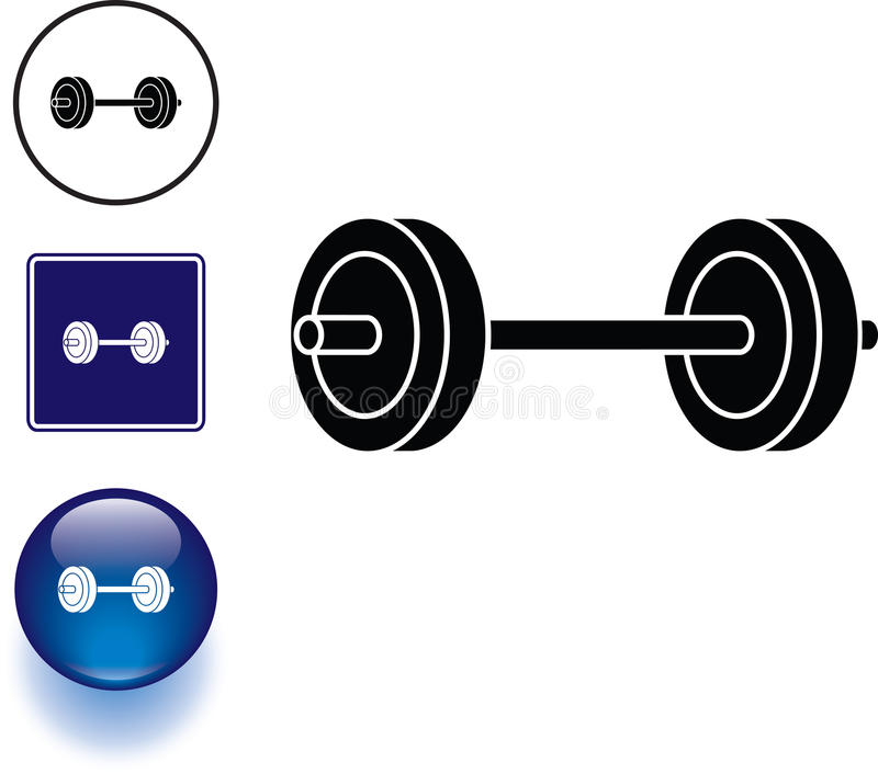 Barbell weights symbol sign and button royalty free illustration