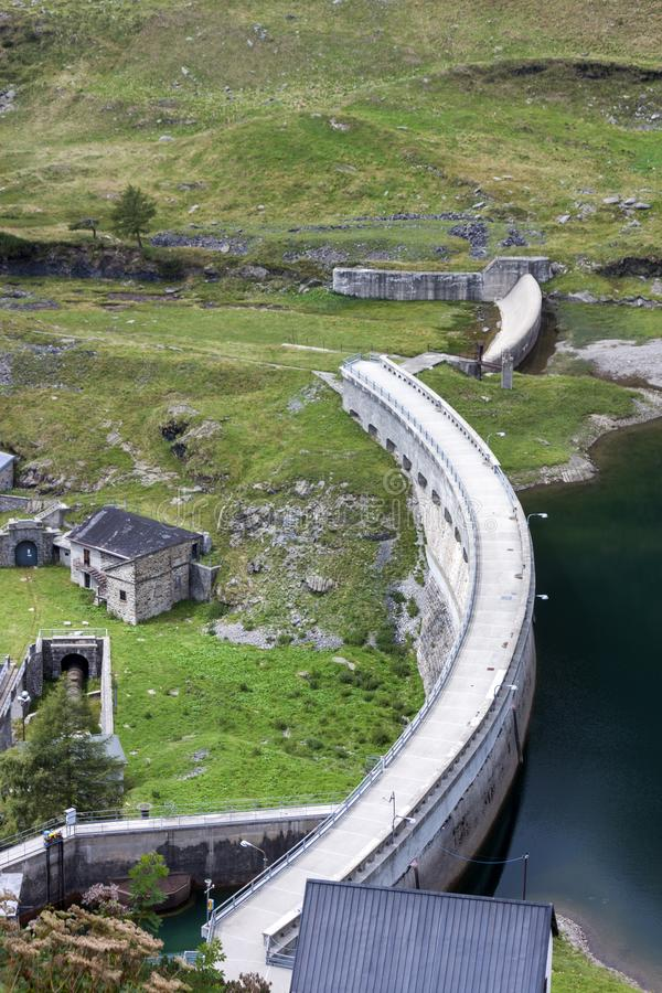 Barbellino dam and artificial lake, Alps Orobie, Bergamo,. Engineering work of Barbellino dam and artificial lake, Alps Orobie, Bergamo, Lombardy, Italy stock photography