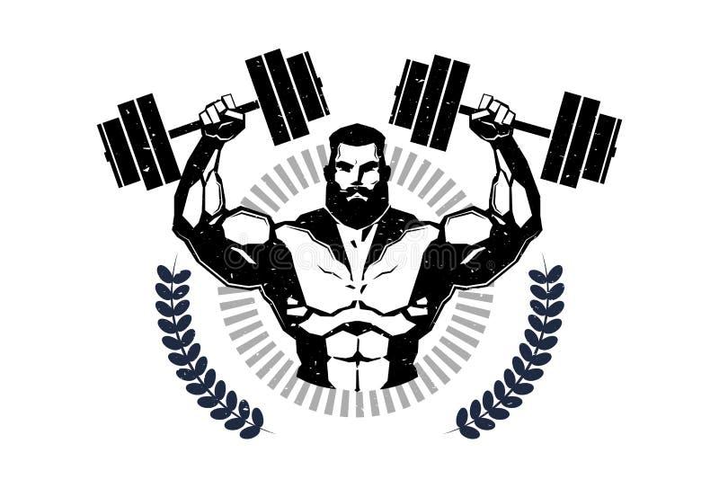 Barbells del control de Logo With Training Athletic Man del gimnasio en el emblema blanco del fondo del centro de aptitud moderno stock de ilustración