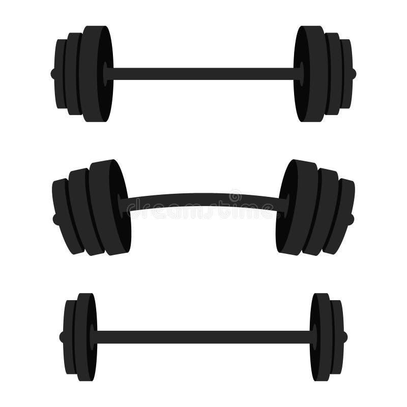 barbells ustawiają Czarni barbells dla gym, sprawności fizycznej i sportowego centre, Weightlifting i bodybuilding wyposażenie ilustracja wektor