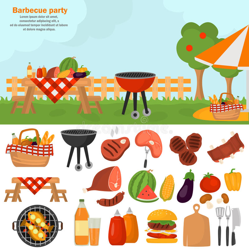 Free Barbeque Color Icons Set For Web And Mobile Design. Outdoor Bbq Time Illustration Royalty Free Stock Image - 97443406