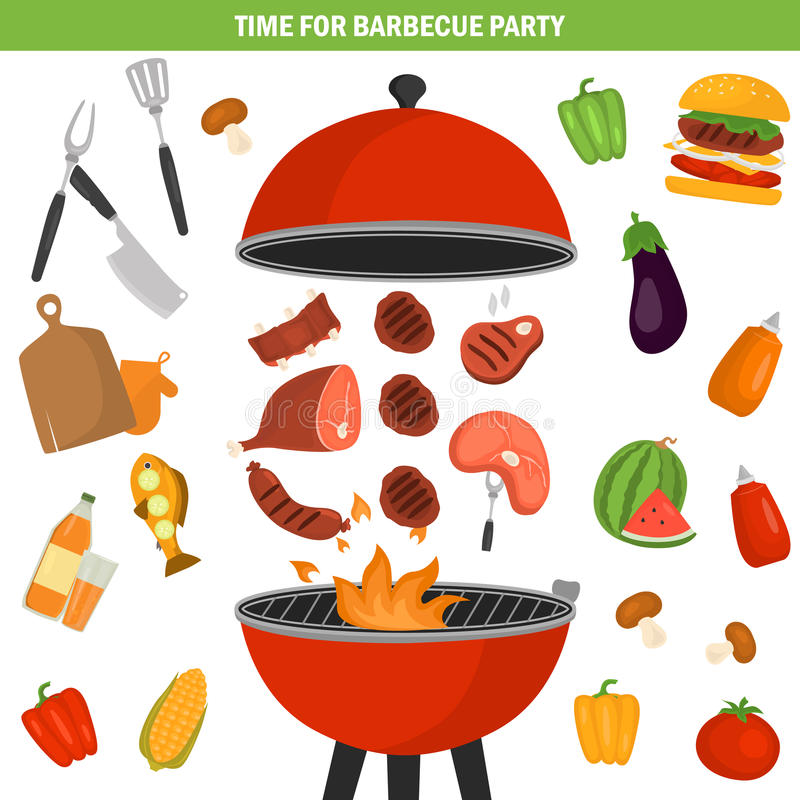 Barbeque color icons set for web and mobile design vector illustration