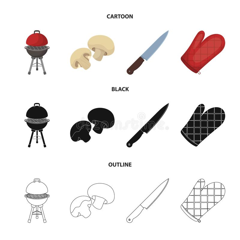 Barbeque grill, champignons, knife, barbecue mitten.BBQ set collection icons in cartoon,black,outline style vector. Symbol stock illustration stock illustration