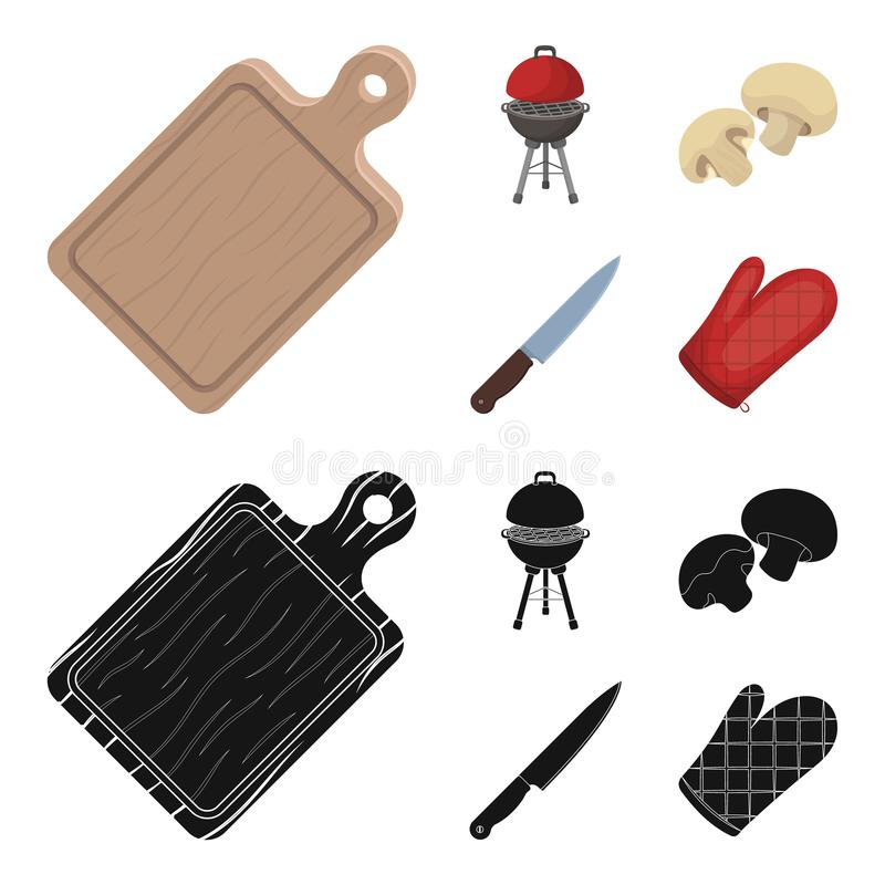 Barbeque grill, champignons, knife, barbecue mitten.BBQ set collection icons in cartoon,black style vector symbol stock. Illustration royalty free illustration