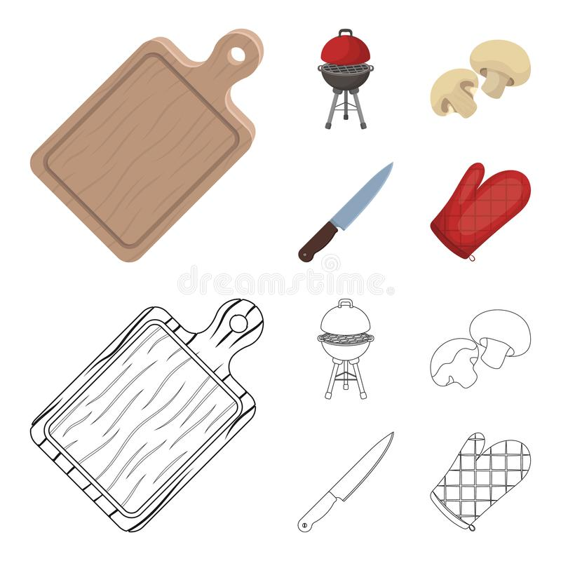 Barbeque grill, champignons, knife, barbecue mitten.BBQ set collection icons in cartoon,outline style vector symbol. Stock illustration royalty free illustration