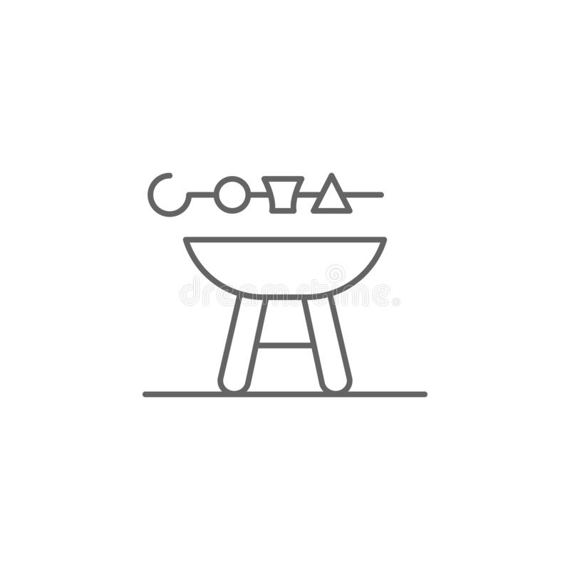 barbeque grill sausage fast food outline icon. Elements of independence day illustration icon. Signs and symbols can be used for stock illustration