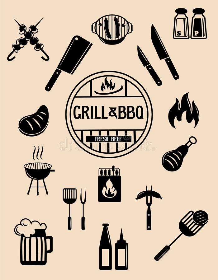 Barbeque and grill vector icons collection. Vector set. stock illustration