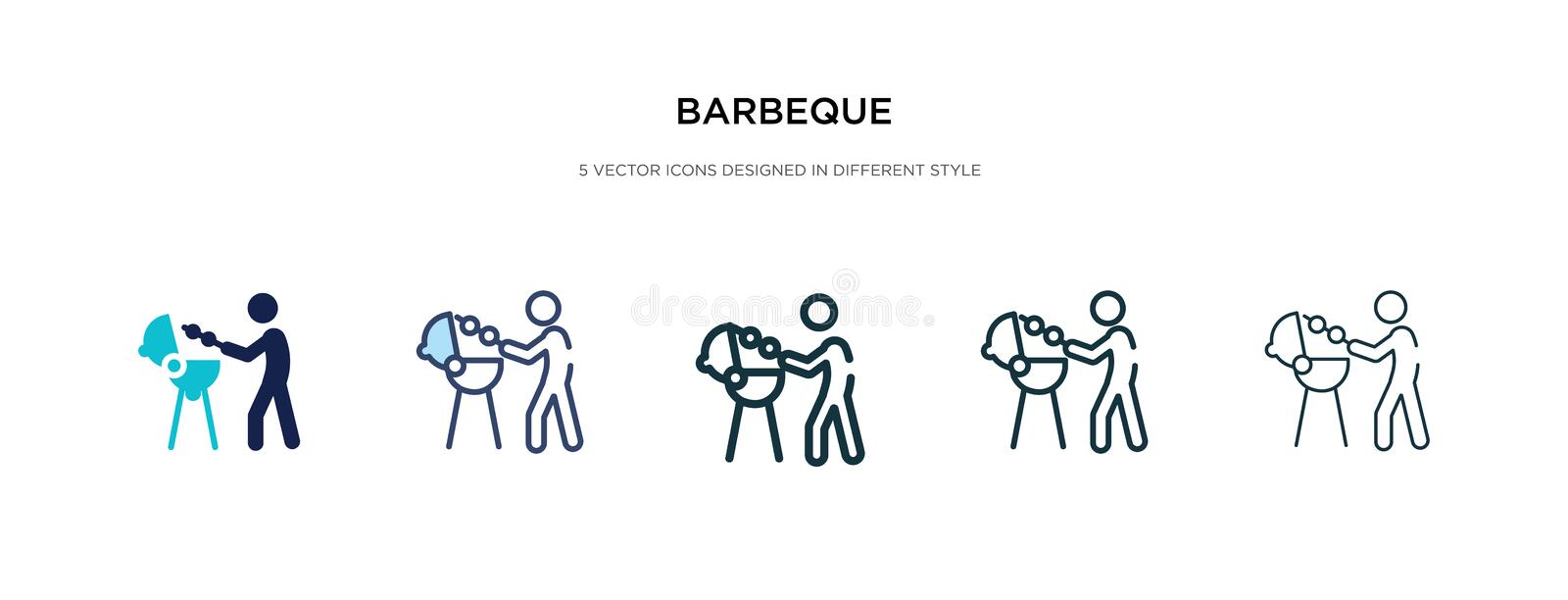 Barbeque icon in different style vector illustration. two colored and black barbeque vector icons designed in filled, outline, stock illustration