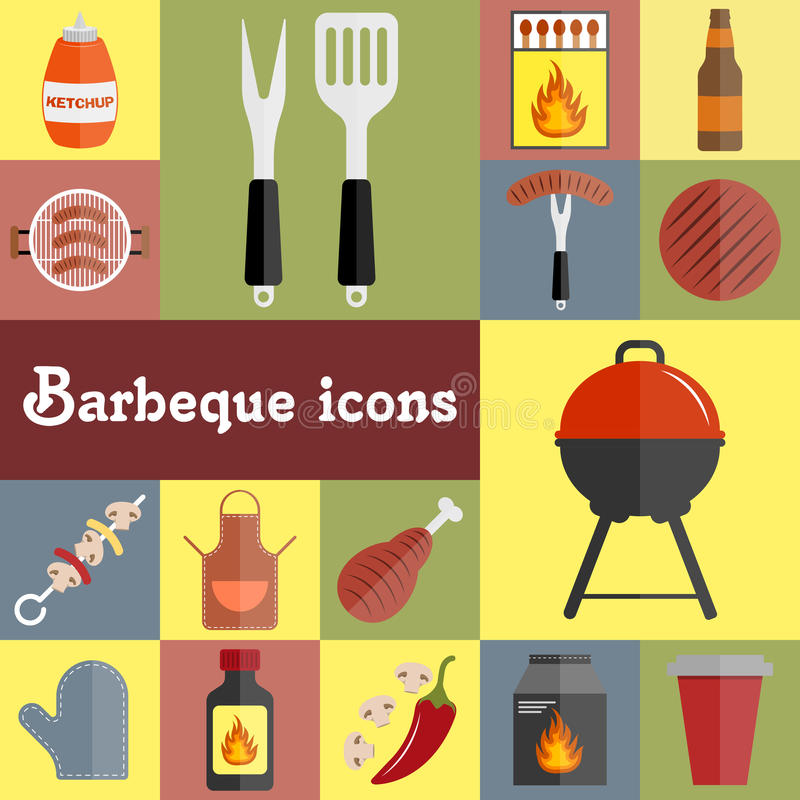 Barbeque icons set vector illustration