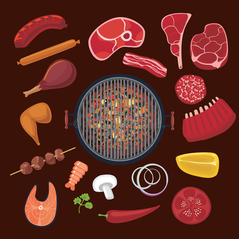 Barbeque ingredients set. Cartoon icons collection for BBQ. Food for the barbeque. Isolated icons collection. Flat style royalty free illustration