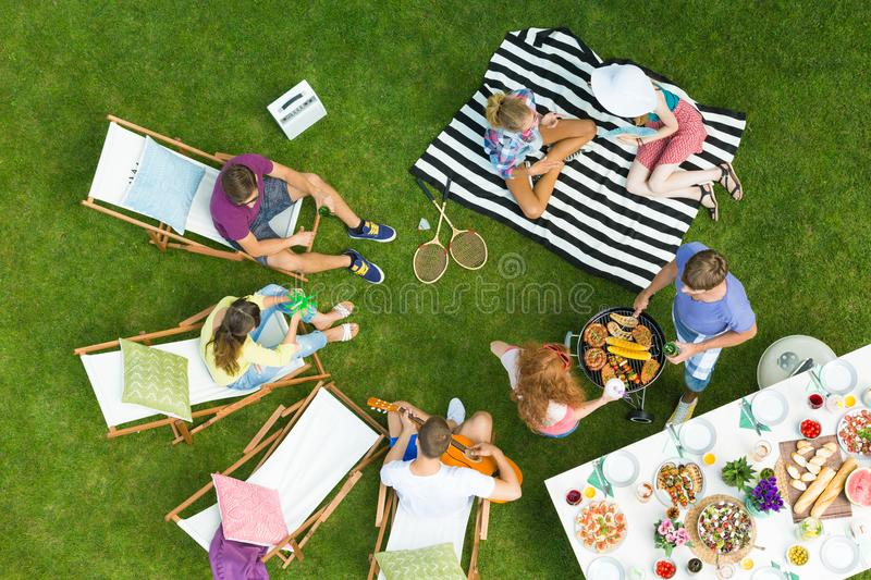 Barbeque party in a park royalty free stock photography