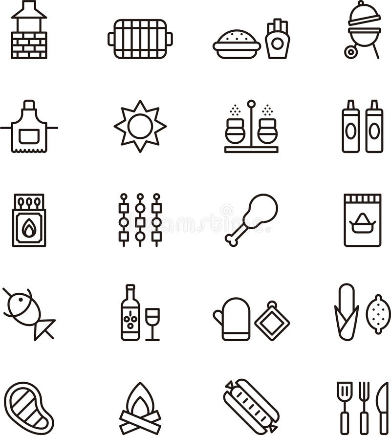 Barbeque and picnic icons stock illustration