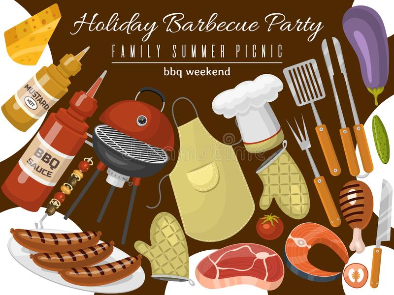 Barbeque picnic party poster meat steak roasted on round hot barbecue grill vector illustration. Bbq in park, banner. Design template. Grilled food menu vector illustration