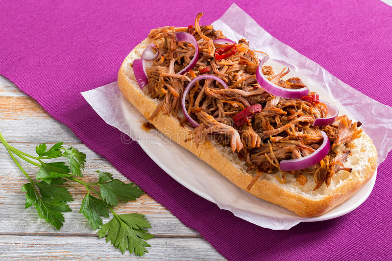 Barbeque Pulled Pork ciabatta open Sandwich, top view royalty free stock photo