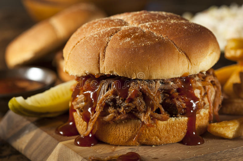 Barbeque Pulled Pork Sandwich royalty free stock images