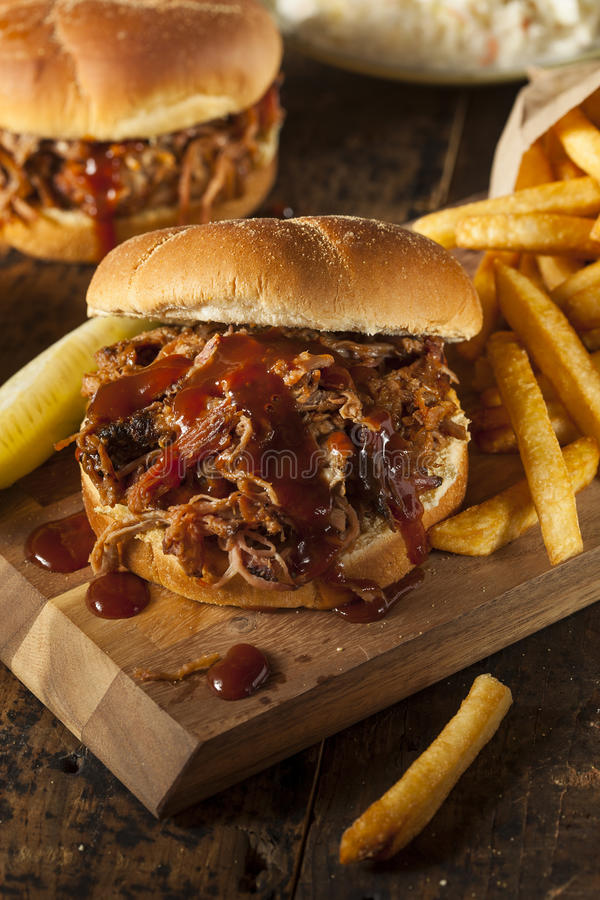 Barbeque Pulled Pork Sandwich stock image