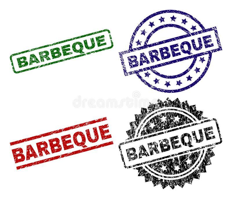 Scratched Textured BARBEQUE Seal Stamps stock illustration