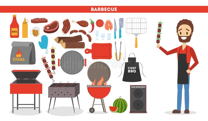 Barbeque set. Collection of equipment for bbq and camping. Pepper, sausage and meat. Man in apron cooking. Vector illustration in cartoon style stock illustration