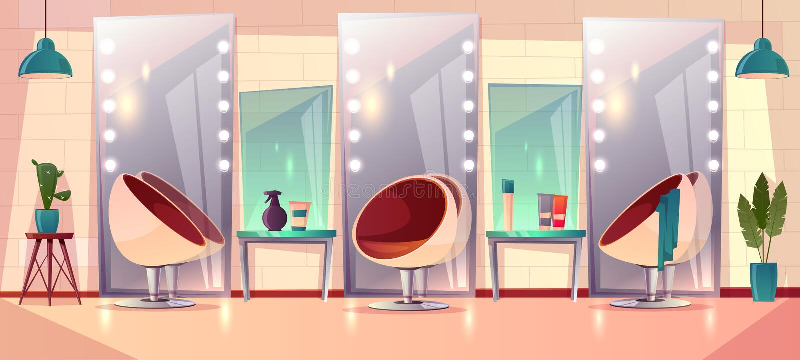 Barbería femenina de la peluquería del vector, interior del salón de belleza stock de ilustración
