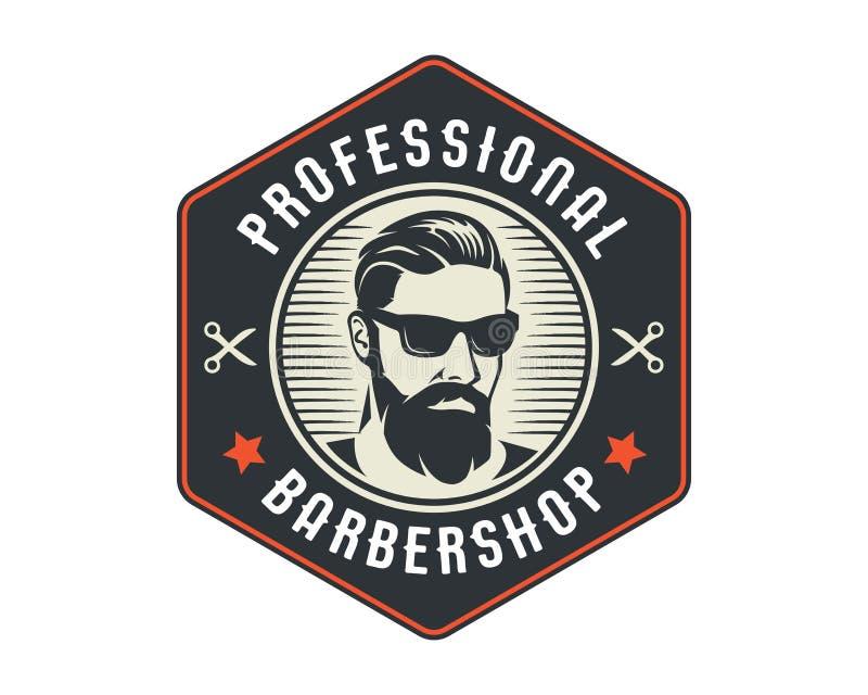 Barbería profesional Logo Badge Emblem del afeitado cercano del caballero del vintage ilustración del vector