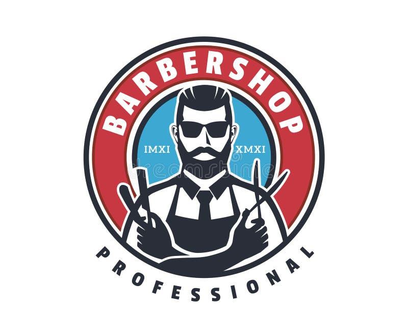 Barbería profesional Logo Badge Emblem del afeitado cercano del caballero del vintage libre illustration