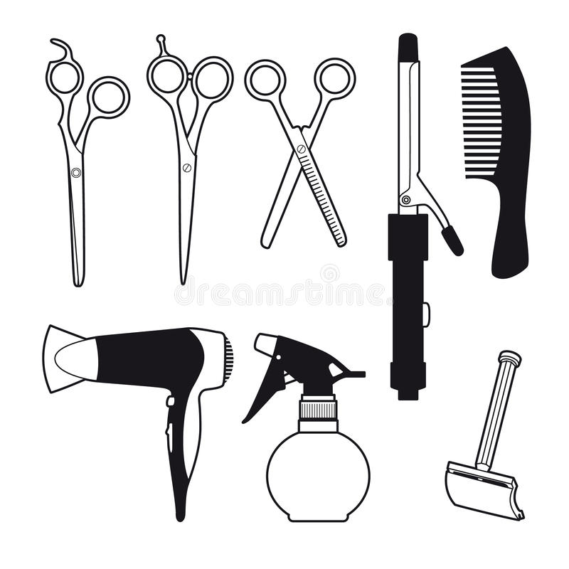 Barber Accessories Set dibujada mano libre illustration