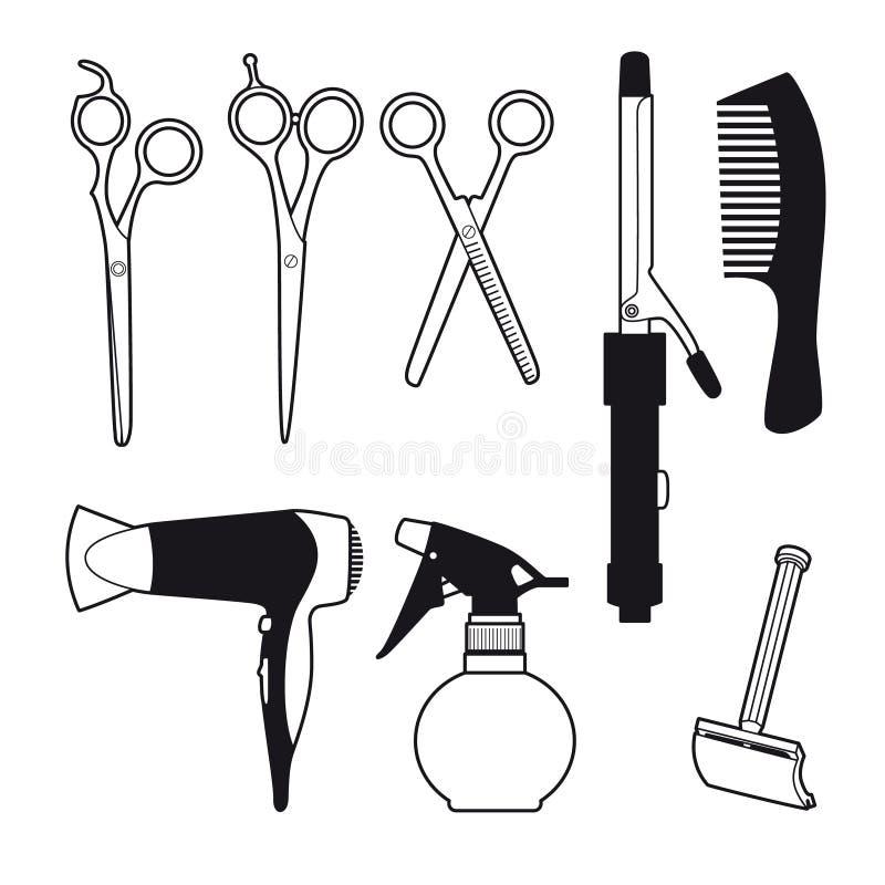 Barber Accessories Set tirée par la main illustration libre de droits