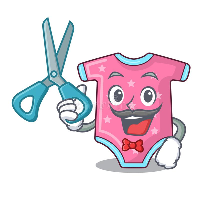 Barber character baby clothes hanging on clothesline. Vector illustration royalty free illustration