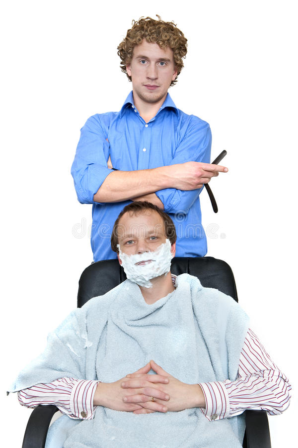 Download Barber and Client stock photo. Image of barber, foam - 23205256