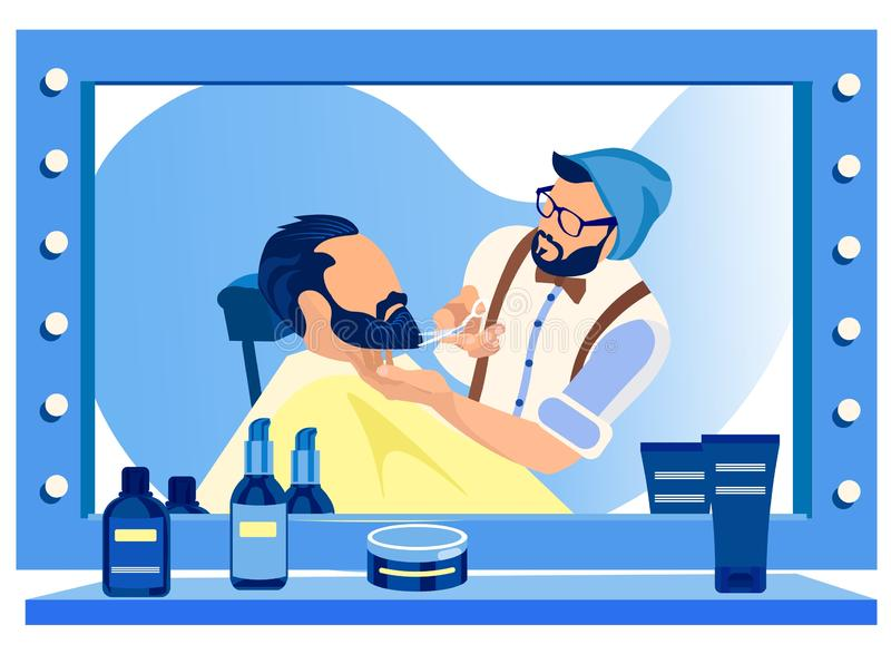 Barber Cutting Customers Beard at Huge Mirror royalty-vrije illustratie
