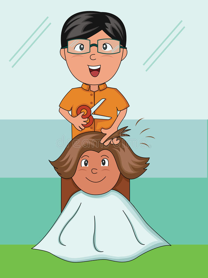 Barber. A barber is cutting his customer's hair vector illustration