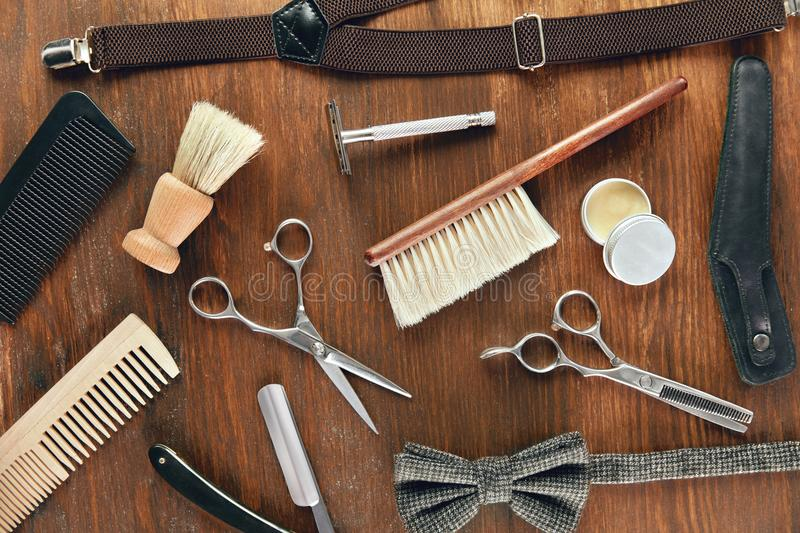 barber equipment and tools on wood table stock image image of