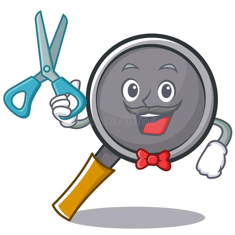 Barber frying pan cartoon character. Vector illustration stock illustration