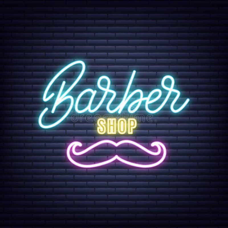 barber Fryzjera męskiego sklepu neonowy znak Neonowy rozjarzony signboard sztandaru projekt royalty ilustracja