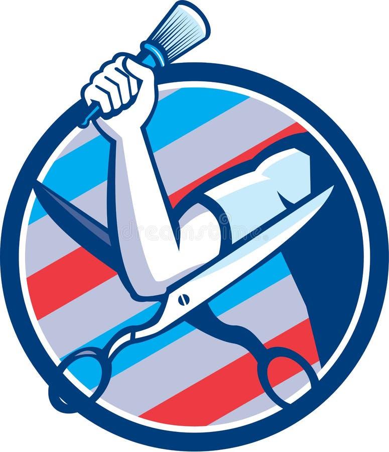 Barber Hand Brush Scissors Circle Retro- stock abbildung