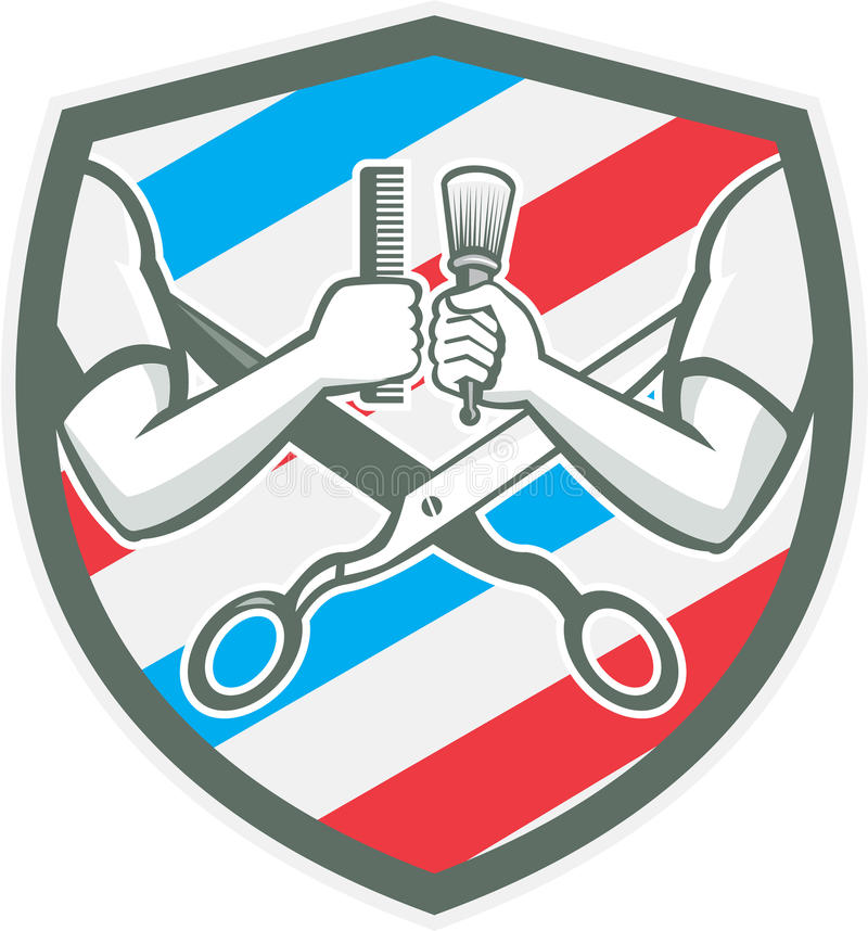 Barber Hand Comb Brush Scissors-Schild Retro- lizenzfreie abbildung