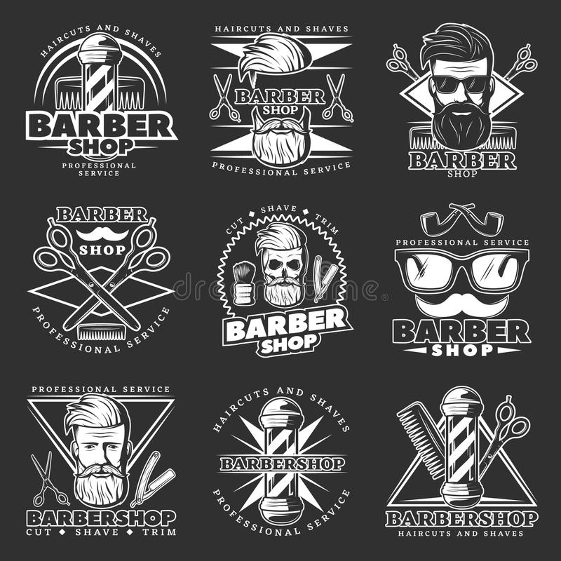 Barber Hipster Emblem Set illustrazione di stock