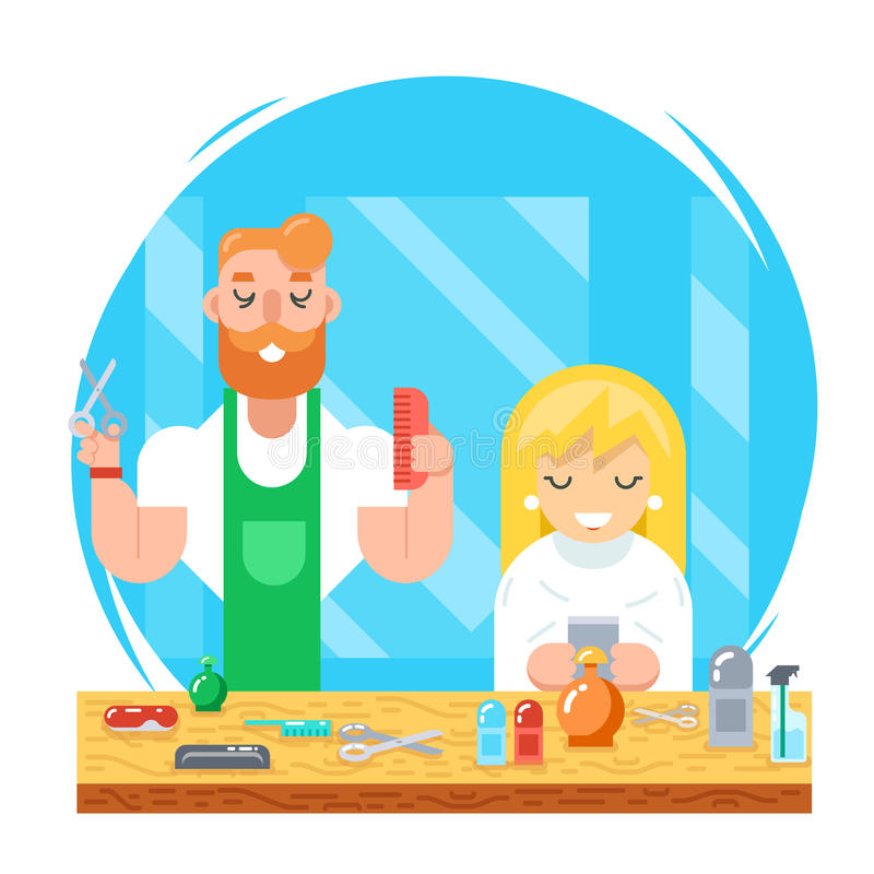 Barber hipster geek online mobile character male and female master haircuts icon on stylish background Flat Design royalty free illustration