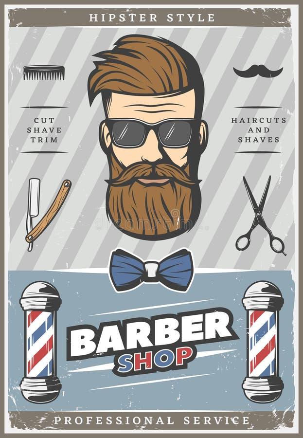 Barber Hipster Vintage Poster ilustração stock