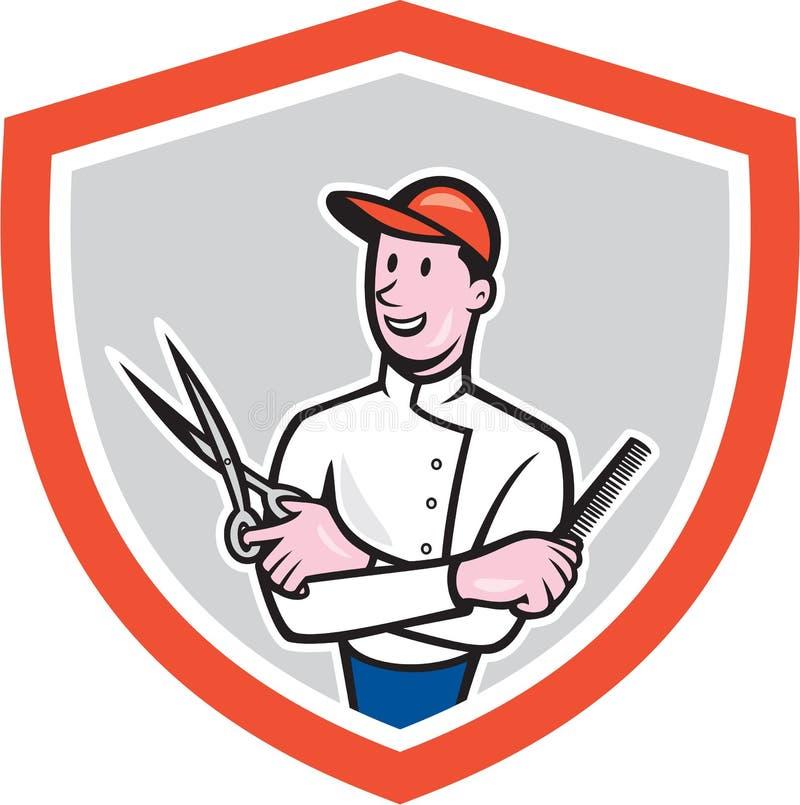 Barber Holding Scissors Comb Cartoon royalty-vrije illustratie