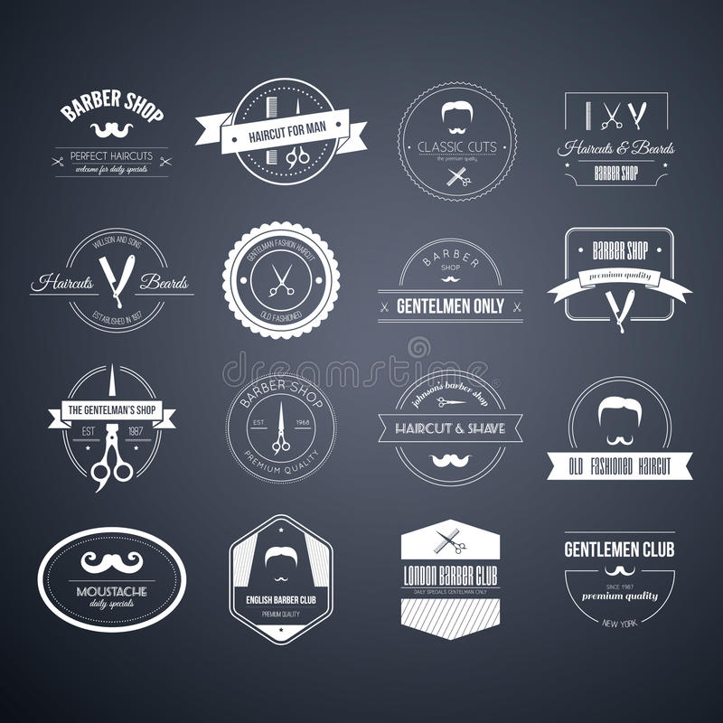 Barber Logos. Perfect set of barber and haircut logos. Men's haircuts logo collection made in vector. Badges, labels and design elements