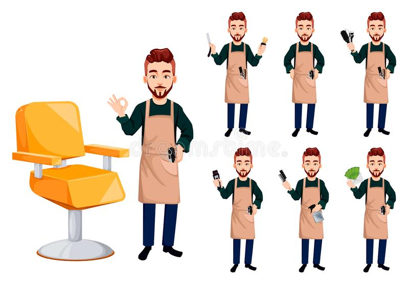 Barber man in hipster style, set of seven poses. Handsome cartoon character. Beard shave service. Vector illustration isolated on white background royalty free illustration
