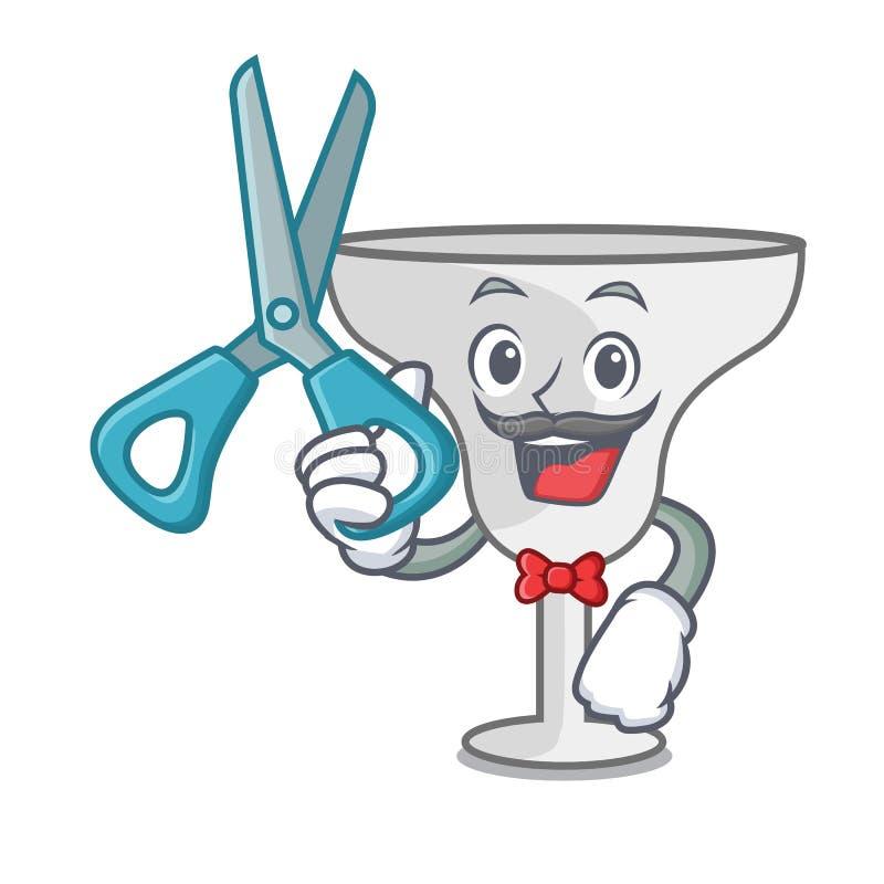 Barber margarita glass character cartoon. Vector illustration royalty free illustration