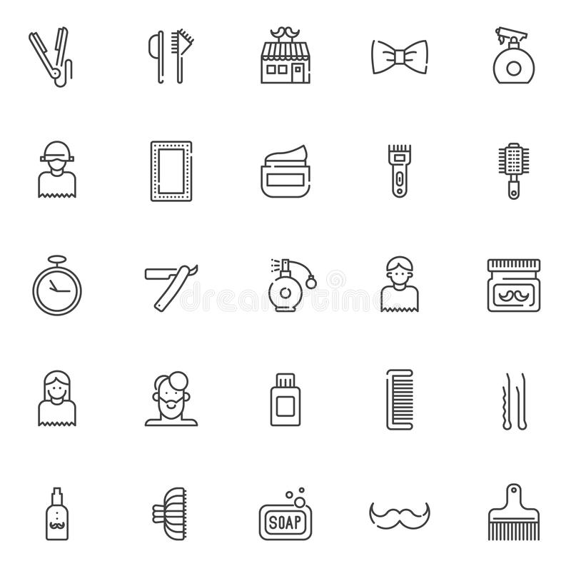 Barber outline icons set stock illustration