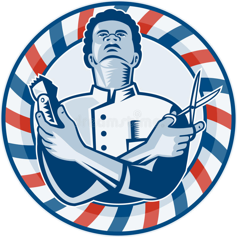 Barber With Pole Hair Clipper and Scissors Retro vector illustration